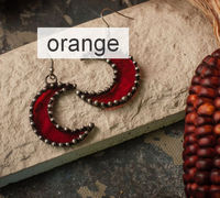 custom order Crescent Moon orange Earrings $22.00