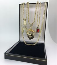 4 Piece hip hop bling iced out box set rope pendant necklace chain curb plug Ruby £89.50