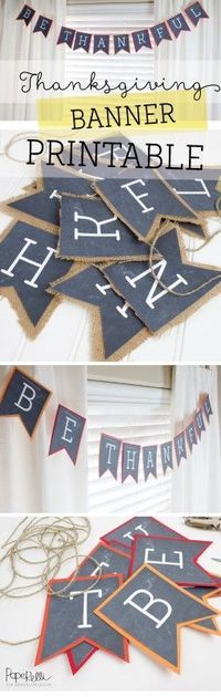Use this free Thanksgiving printable Be Thankful banner to spice up your fall decor this season.