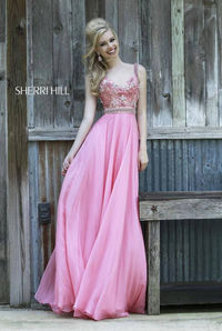Sparkly Coral Long Prom Dresses By Sherri Hill 8552