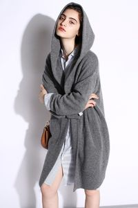 Lazy Cashmere Long Thick Wool Coat Hooded Sweater $115.00