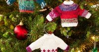Free knitting pattern for tiny sweater Christmas tree decorartions
