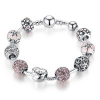 So good looking! Wear it to your date, parties or etc. Fits every woman well. LOVE FLOWER CRYSTAL BALL SILVER BANGLE BRACELET