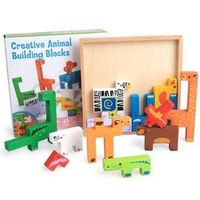 High Quality Baby Wooden Toys 3D Animal Building Blocks