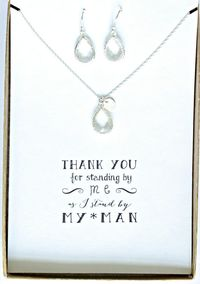 Set of 4 Clear Crystal Necklace Earrings Set, Silver initial Necklace Crystal Earrings Set, Clear Crystal Jewelry Sets for Bridesmaids, TS4 $197.50