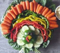 I arranged my veggie platter like this for Thanksgiving. It was so cute! Great for kids to see and to get them to eat their vegetables.