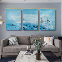 Set of 3 wall art teal blue framed wall art sea fishes painting Abstract paintings on canvas Original art extra Large 3pieces Wall Art $163.53