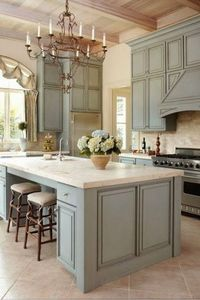 Painted green kitchen cabinets