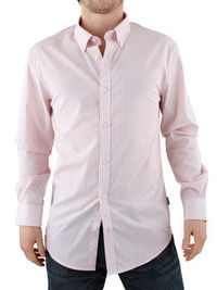 Peter Werth Pink Long Sleeve Shirt Peter Werth Long Sleeve Shirt - Mens long sleeve shirt from Peter Werth - Button down collar - Stripe detail throughout - Single cuff - Branding tag at hem - Product Code: PW212551PIN - Material: 100% http://www.comp...