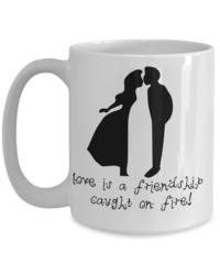 Valentines Gifts For Girls - Valentines Couples Mugs - 15 Oz Mug - White Mug - Love Is A Friendship Caught On Fire $17.95
