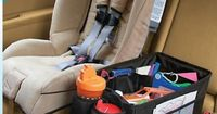 """Momformation's """"Is Your Car Organized?"""" post recommends our following products to get control of your car: Our Travel Pal Carseat Organizer, Backseat Car Organizer, Car Floor TrashStand Litetrbug & Family Car Organizer"""