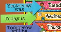 """yesterday"" ""today"" ""tomorrow"" days of the week. sticky back plastic blue tack cardboard sheet. Have kids choose a school subject/free time activity for each day, decorate each slot with chosen activity. Practice spelling ..."
