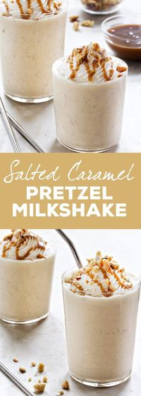Salted Caramel Pretzel Milkshake is for the person who loves salty and sweet. Mixed in a cool, creamy milkshake, you've got one gorgeous treat!