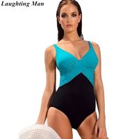 Laughting Man Brand 2018 Plus Size One Piece Patchwork Swimsuit Solid Bahting Suits Maillot Vintage Swimwear Women Monokini $46.76