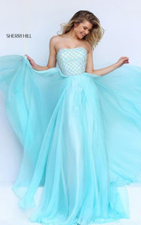 Sherri Hill 50039 Blue Exceptionally Sophisticated Strapless