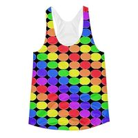 """Exclusively from And Above All YOGA --- """"Rainbow Balls Black"""" Women's Racerback Tank Top for just $29.95 with FREE SHIPPING"""