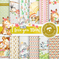 Mother's Day digital paper, Mother's Day floral digital papers, Mother Quotes, Baby Animal Pattern Baby Patterns mom scrapbook papers $7.00