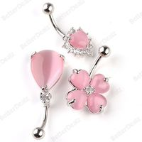 3pcs Pink 14ga Pink Cat's Eye Barbell Belly Navel Ring Heart Teardrop Flower Mix