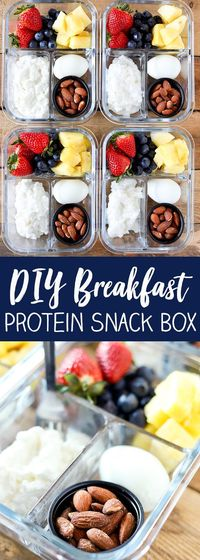 This DIY Breakfast Protein Snack Box is so easy to put together and perfect for grab and go or taking to work. These are some of my favorite breakfast foods. Fr