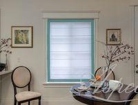 White 4 Sides Blue Border Chevalle Design Flat Linen Roman Shade $97.00