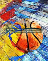 This colorful basketball artwork comes in different sizes and is a photo print. the basketball artwork is by basketball artist takumipark. #basketballart #urbanart #streetart #sportsart #boysroomart #homedecor