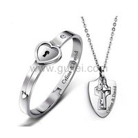 Gullei.com Personalized Lock and Key Bracelet Necklaces Anniversary Gift