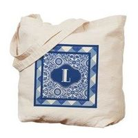 Letter L Monogram Indigo Blue And White Tote Bag