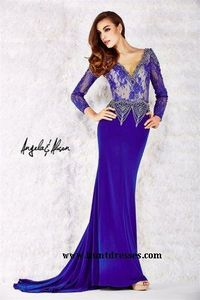 Long Purple Beaded Lace Long Sleeve V Neck Angela and Alison 52061 Prom Gowns