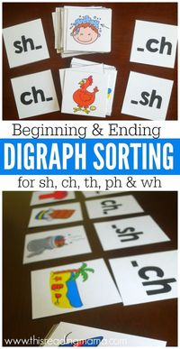 These beginning and ending digraph picture cards {FREE download is at the END of this post} are perfect for some digraph sorting! Challenge kids to sort by two