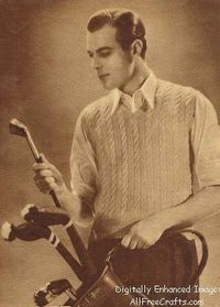 Free classic men's sleeveless pullover vest pattern from Lux Knitting Book, 1938. Timeless good looks.