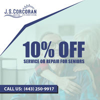 Corcoran Heating & Air is providing 10% off on service or repair for seniors.Contact us 443-250-9917 to grab the deal.