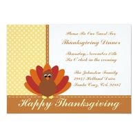 Thanksgiving Dinner Invitations Cute Turkey