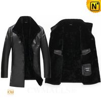 CWMALLS® Chicago Designer Shearling Lined Leather Coat CW807803 [Patented Product, Global Free Shipping]