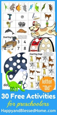 Easy preK at home. 5 FREE #Preschool activities based on #alphabet letter D. Cutting, coloring, matching & reading too! http://bit.ly/5FreeDPreK