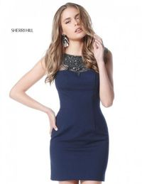 Navy Sherri Hill 51328 Short Beaded Crepe Party Dress