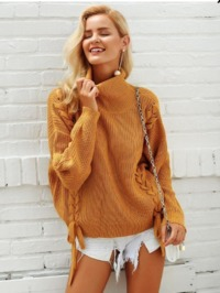 High Neck Loose Drawstring Sweater $50.00