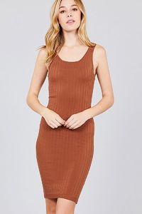 20% discount with BESTDEAL at checkout! Double Scoop Neck Body Fitted Rib Sweater Dress $22.50