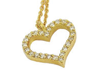 Gold Pendant Diamond Pendant Heart Pendant Love pendant 14K or 18K White Yellow or Rose gold Minimalist pendant $417.00