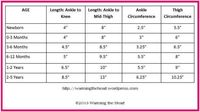 Sizing chart for baby legwarmers