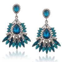 Crystal Beaded Exaggerated Statement Stud Prom Earrings for Lady