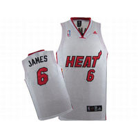 NBA Heat James #6 White Adidas Jersey Red Black Number