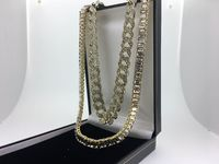 Extra large All diamond Gold Double row cuban and oblong necklace box set £39.95