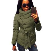women Cotton coat high collar with belt parkas for women winter 3 colors warm outerwear coats £31.95
