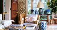 Chinoiserie Chic: Tory Burch- try RL blue and white lamp on center of buffet in dining room