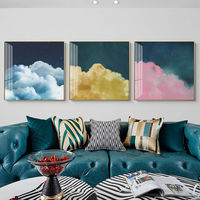 Set of 3 wall art Abstract paintings on canvas cloud painting pink art Framed wall art Ymipainting Original wall Pictures Cuadros abstractos $163.53