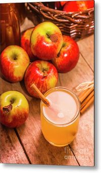 Modern Kitchen Metal Print | Close up of glass with fresh apple juice and cinnamon stick and ripe apples on wooden background | Jorgo Photography #modernkitchenideas #foodart #metalprint #metalwallart #applecider #applejuice #foodphotography #kitchenart #...