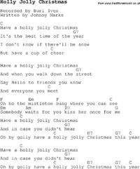 Christmas Songs and Carols, lyrics with chords for guitar banjo for Holly Jolly Christmas