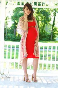 Red maternity dress and sheer floral kimono.