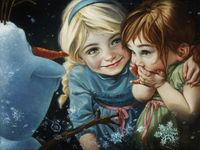"Never Let It Go Elsa, Anna and Olaf from Disney's ""Frozen"" Copyright © 2015 Fine Art by Heather Theurer"