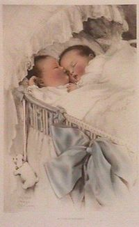 Vintage twin babies lithography, Bessie Pease Gutmann.